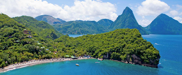 JADE MOUNTAIN is St. Lucia's only resort property with the iconic view of both the Piti and Gros Piton mountains